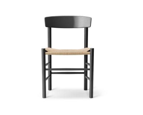Fredericia Furniture - J39 - Folkestolen - Sort eg med naturflet