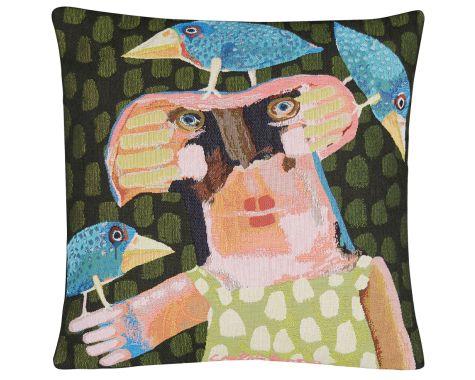 Poulin Design - Sylvester - Dame med torpedofugle - pude
