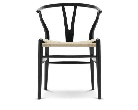 CH24 - Y-stol - Sortmalet eg med struktur med natur flet
