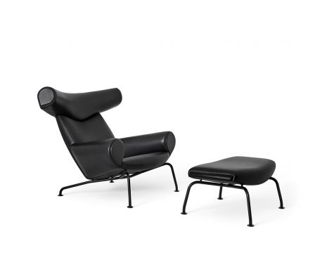 Erik Jørgensen - EJ100 - Ox Chair m. skammel - Black Edition