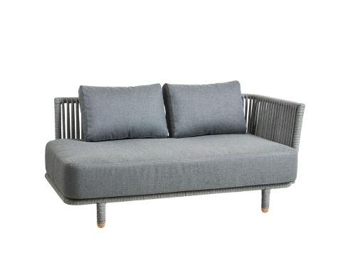 Cane-line - Moments 2 pers. sofa venstre med grå hynder
