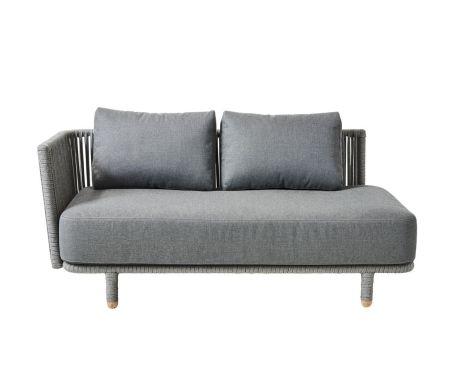 Cane-line - Moments 2 pers. sofa højre med grå hynder