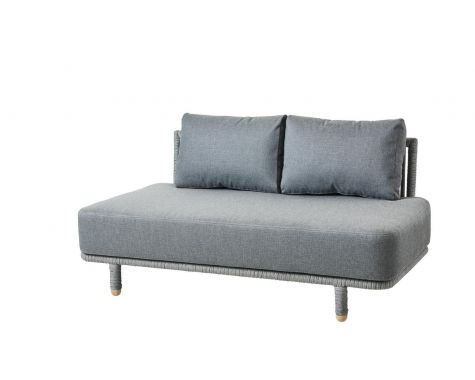 Cane-line - Moments 2 pers. sofa modul med grå hynder