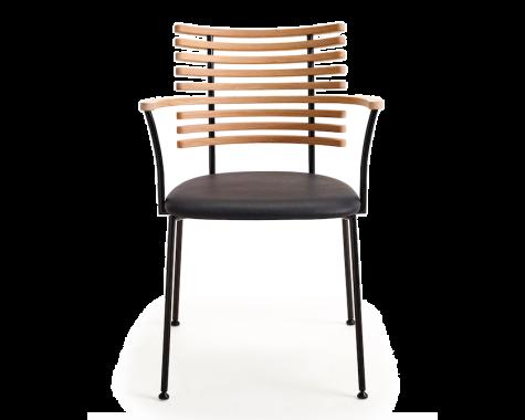 Naver Collection - GM 4106 Tiger - Spisebordsstol m. armlæn - Sort pulverlakeret stål