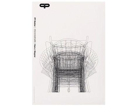 PP MØBLER - Plakat Wegners Streg - med hvid baggrund